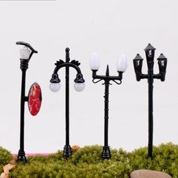 Wholesale Pink Paper Gift Bags Wholesale - Groceries Street Lamp Crafts Mini Fleshy Ornament Road Garden Home Miniature Streetlight Potted Landscape Advertising Light Hot Sale 1 4hq H