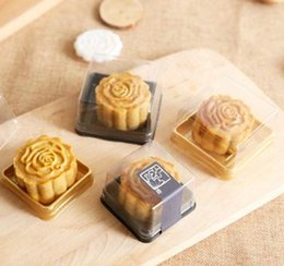 Wholesale Mooncake Package - 1000pcs Wholesale free shipping, 50g moon cake trays moon cake packaging boxes Gold plastic bottom transparent cover