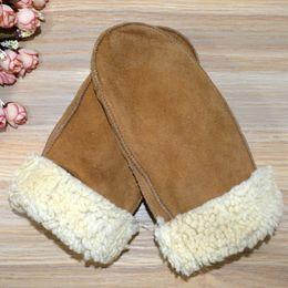 Wholesale Ladies Leather Gloves - Wholesale- 2016 Fashion Winter Genuine Leather Gloves Mittens Women Real Sheepskin Ladies Fingerless Gloves Warm Female Mittens
