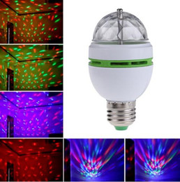 Wholesale Effect Lights - Free shipping Retail 3W E27 RGB lighting Full Color LED Crystal Stage Light Auto Rotating Stage Effect DJ lamp mini Stage Light Bulb