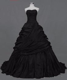 corsé gótico del victorian Rebajas Vestidos de boda negros victorianos góticos de la vendimia Corsé del amor detrás Vestidos de boda no blancos del tafetán Vestidos de boda del vintage