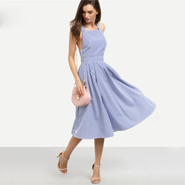 Wholesale Midi Summer - Women New Arrival Sexy Midi Dresses 2017 Summer Blue Striped Square Neck Sleeveless Crisscross Back A Line Dress
