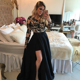 Wholesale Lace Sexy Belt Prom Dress - Black Over Nude Evening Dresses Jewel with Sheer Long Sleeves Lace Appliques Bodice and High Side Split Beaded Belt Prom Gowns