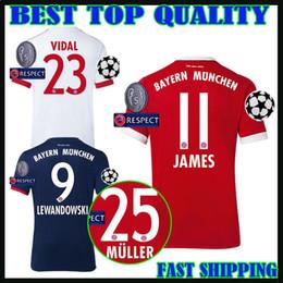 Wholesale Champions League Shirt - 17 18 Champions League Soccer jersey home james 2017 2018 VIDAL third LEWANDOWSKI MULLER ROBBEN TOLISSO away football shirts top quality