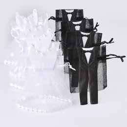 Wholesale Wedding Favors Drawstring Bags - Wholesale- 50 Sets Organza Drawstring Candy Bag 25* Tuxedo & 25* Dress Bride Groom Wedding Favors Party Gift Bag WB06