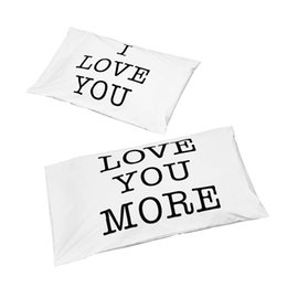 Wholesale Valentine Hotels - Romantic Pillowcase Pair for Bedroom Home Decoration Anniversary valentine day Soft White I Love You Love You More couples Pillowcase Set