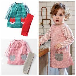 Set di abbigliamento per bambini online-Vestiti delle ragazze dei ragazzi Vestiti dei bambini 2017 Marca Toddler Girl Boy Set di abbigliamento Roupas Infantis Menino carattere bambini vestiti a strisce