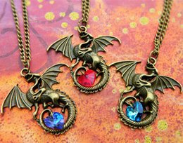 Wholesale Crystal Jewellery Necklace - 12pcs lot Dragon Necklace Fantasy Crystal Necklace Dragon Jewellery Dragon Lover