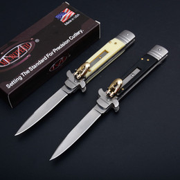 "Wholesale Knives 58hrc - AKC 9"" INCH Acrylic handle Italian Godfather Stiletto 440C steel blade survival outdoor camping knives single action free shippin"