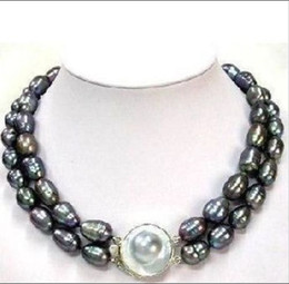 Wholesale Strands Tahitian Black Pearls - Details about CLSSIC DOUBLE STRANDS TAHITIAN 10-13mm BLACK MOTHER PEARL NECKLACE 17-18inch