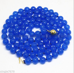 Wholesale Natural Blue Sapphire Beads - AAA+ Natural 8mm Blue Sapphire Gemstone Round Beads Necklace 18inch