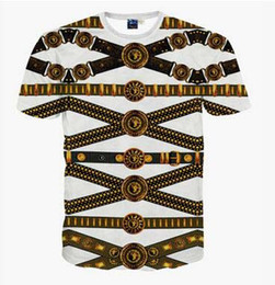 Wholesale Lions Shirt Xl - Summer Man Fasion Gold Necklace Lion 3D Digital Printing National Features T-shirt Casual Tees Short Sleeve Shirt European Hiphop Style