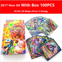 Wholesale Poke Toys Pikachu - 2017 Hotsale Newest With Box 100Pcs Set GX poke Cards EX MEGA Card Toys Games Playing English Pikachu Collectable Card toys for Kids Gift