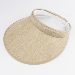 Wholesale Garden Clips - Fashion Linen Clip-On Empty Top Sun Visor Hat Summer Imitation Linen Cap Wide Brim Sun Protection Hats For Men And Women