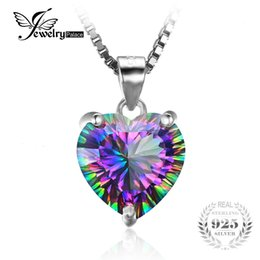 Wholesale Mystic Topaz Stones - Wholesale- JewelryPalace 4ct Genuine Rainbow Fire Mystic Topazs Pendant Solid 925 Sterling Silver Vintage Jewelry Heart Pendant Brand New