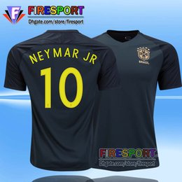 Wholesale 2017 Brazil Third Black Soccer Jerseys Camisa de futebol Neymar Jr Oscar Silva Pele Coutinho Marcelo Football Thailand Shirt
