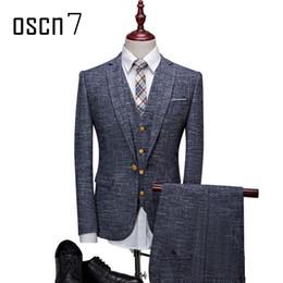 Wholesale Leisure Slim Plaid Suit - Wholesale- OSCN7 3 Pcs Linen Plaid Suit Men Slim Fit Leisure Business Wedding Dress Suits for Men Terno Masculino Tuxedo Costume Homme