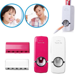 Wholesale wall automatic dispenser - Automatic Toothpaste Dispenser+5Toothbrush Holder Set Wall Mount Stand Toothbrush Holder Wall Mount Stand Bathroom Tools KKA2193