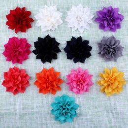 flores de lótus de tecido Desconto 13 Cores Hot Artificial Duplo-Camada de Lótus Flores Para Crianças Grampos de Cabelo Acessórios Tecido de Inverno Flor Para Headbands descobertas hairpin