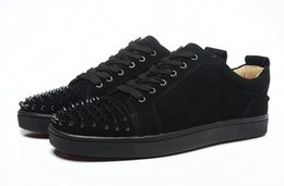 Wholesale Shoes Studs Rivets - 2017 Brand men sneakers Spikes Red Bottom Flat Casual Shoes Men Low Top Red Sole Studded Black Studs Rivet Male Casual Shoes