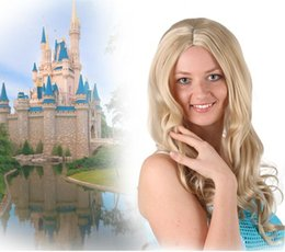 Wholesale Cinderella Costume For Women - 2017 New Cinderella Cosplay Costume Play Wigs Halloween Costumes Wig Curly High Temperature Fiber For Woman 60cm Golden Wig