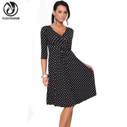Wholesale Work Out Clothing - Wholesale- YEJIA FASHION Plus Size Women Clothing Summer Autumn Polka Dot Office Work OL Dresses Vintage Tunic Stretchy Maternity Dress