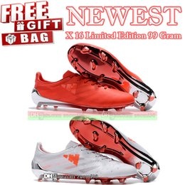 Wholesale Red Gram - New Lightweight Low Football Boots X 16 Limited Edition 99 Gram FG Soccer Shoes Mens Soccer Cleats Red White US 6.5-11.5