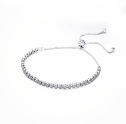 Wholesale Crystal Gifts For Holidays - TopeasyJewelry 100% 925 Sterling Silver clear CZ Bracelets Bead with Brand logo Bracelets Summer new love Bracelets for women Holiday gift