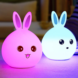 Wholesale Bunny Night Lights - Wholesale- USB Rechargeable Rabbit Shape Bunny Light Cute Led Luminous Toys Children Bedside Table Decoration Night Silicone Night Lighting