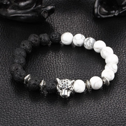Wholesale Matte Chains - Kittenup 2016 New White and Black Silver Plated Leopard Charm Stone Beads Bracelets For Men Lava Matte Fashion Jewelry