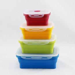 Wholesale Folding Collapsible Storage Box - 4pcs set Silicone Eco Collapsible Lunch Box Portable Folding Food Storage Containers 350ml 540ml 800ml 1200ml CCA7688 50set