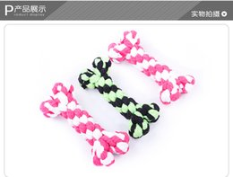 Wholesale Toy Cleaning Supplies - 2PC Free Shipping Hot Sales Pet Supplies Pet Dog Puppy Cotton Chew Knot Toy Durable Braided Bone Rope 16CM Funny teech cleaning Toys
