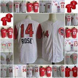 Wholesale Baseball Benches - Mens Pete Rose red Jerseys Stitched #5 Johnny Bench 11 Barry Larkin #17 CHRIS SABO Throwback baseball Jersey S-3XL