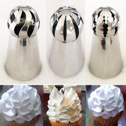 Wholesale Cake Icing Decor - 3pcs set NEW Sphere Ball Tips Russian Icing Piping Nozzles Tips Pastry Cupcake Cake Decor Baking Tool Flower Cake Decorating
