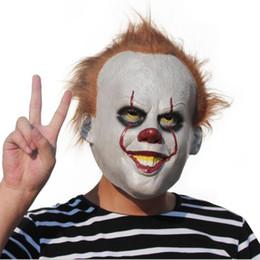 Wholesale Horror Movie Props - Movie Stephen King It Joker Pennywise Mask Full Face Horror Clown Latex Halloween Party Hoorible Masks Cosplay Prop OOA3104