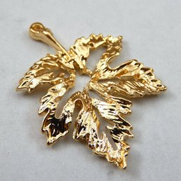 Wholesale Gold Tone Jewelry Findings - Wholesale-Wholesale15pcs Gold tone Alloy Leaf Charms Pendant fashion Jewelry finding Making for necklace & bracelet 18*27mm Free shipping