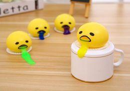 Wholesale Toy Rubber Eggs - Wacky vomiting egg yolk Children squeeze toy Spit egg liquid milk yellow vomit king industries pressure-relief vent ball