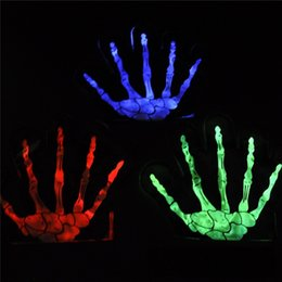 Wholesale luminous gloves - New 3 Styles Halloween Fluorescence Gloves Stage Luminous Gloves Children Mittens dancing party Fun props IA762