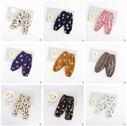 Wholesale Comfortable Baby Girl Clothes - Girls Bloomers Casual Baby Clothes Baby Floral Feather Printed Cotton Linen Bloomers Tenths Pants Trousers Summer Comfortable Loose Pants