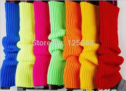 Wholesale Bright Color Socks - Wholesale- Free Shipping! 5Pairs Lot New 2014 autumn winter fluorescence hot bright color women knited leg warmers boots long socks