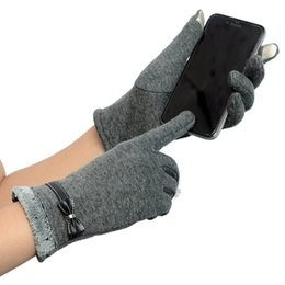 Wholesale Womens Winter Mittens - Wholesale- 2016 Winter Womens Touchscreen Gloves Warm Fitness Long Gloves Heated Female Mittens For Mobile Smartphone Hand Warmers