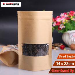 Wholesale Paper Snack Bags - 5 pcs 14x22cm Plain Stand up Kraft Paper Snack Bag   Window Paper Pouches   Stand up Paper Bag With Clear Window