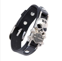 Wholesale Watch Wholesalers Singapore - Vintage Men's PU Leather Bracelet Skull Bracelet Jewelry Watch wholesale 24pcs per lot