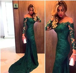 Wholesale Two Piece Evening Wear Tops - Elegant Emerald Green Long Sleeves Lace Mermaid Evening Dresses Illusion Mesh Top Sweep Long Prom Evening Prom Gowns Cheap Real Image