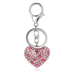 Wholesale 3d Metal Charms - Fashion Silver Color Lobster Clasp Metal Keyring Rhinestone 3D Heart Charms Keychains For Lover Luxury Bag Jewelry