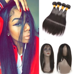 Wholesale Malaysian Hair Closure Pcs - Pre Plucked 360 Lace Frontal Closure with Bundles 3 pcs Malaysian Virgin Hair with 360 lace frontal Malaysian Straight Hair Extension