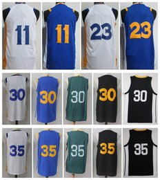 Wholesale Blue Curry - 2017-18 Men Basketball Retro #11 THOMPSON #23 GREEN #30 CURRY #35 DURANT White Blue Black Green Throwback Jerseys Short