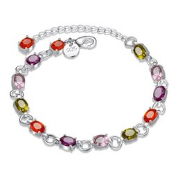 Wholesale Colored Rhinestone Bracelets - 5pcs Silver Plated Bangle Bracelet with Multi Colored Rhinestone Charm Bracelet Lobster Clasp 2 Styles For Woman Wholesale Fashion Jewelry