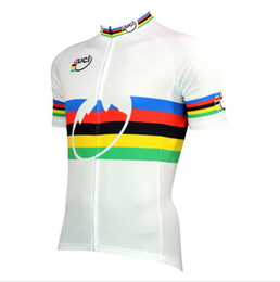 Wholesale Uci Cycling - 2017 UCI World MTB Champion Rainbow Jersey Ropa Ciclismo Cycling Wear MTB Clothes Yellow Black Maillot Ciclismo Sportswear