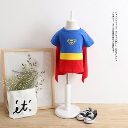 Wholesale Nova Girls T Shirts - 2017 Baby Boys T Shirt Superman Batman T Shirt Kids 3D Cartoon Short Sleeves Children T-Shirt Nova Boys Clothes
